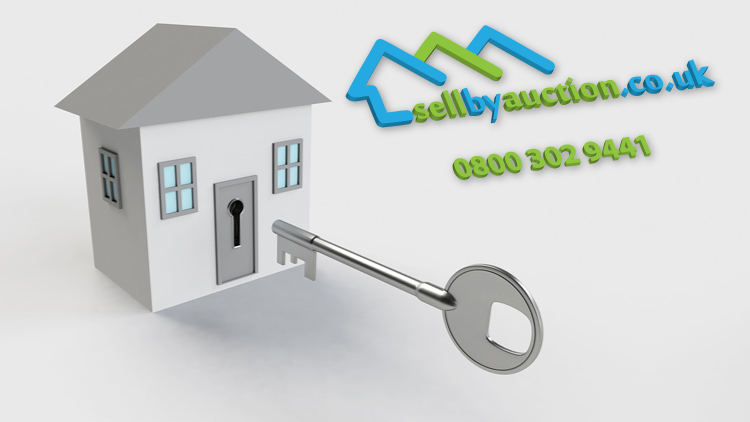 illustration of a house and key and sell by auction logo