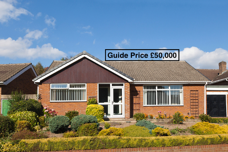 Guide price for property for auction displayed in UK pounds